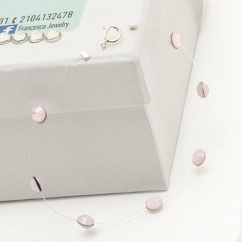 Fb7978 Ασήμι 925° Βραχιόλι με λεπτά κρυσταλλάκια,σε ροζ ματ απόχρωση.