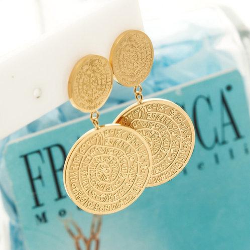 Fe8391 Κρεμαστά σκουλαρίκια από ατσάλι,σε κίτρινο χρυσό,με το δίσκο της Φαιστού.