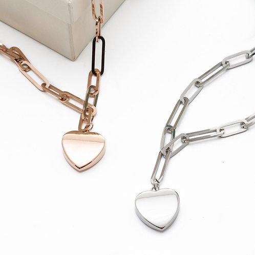 Fn7801 Minimal κολιέ με καρδιά και αλυσίδα σε επάργυρη,& rose gold απόχρωση!