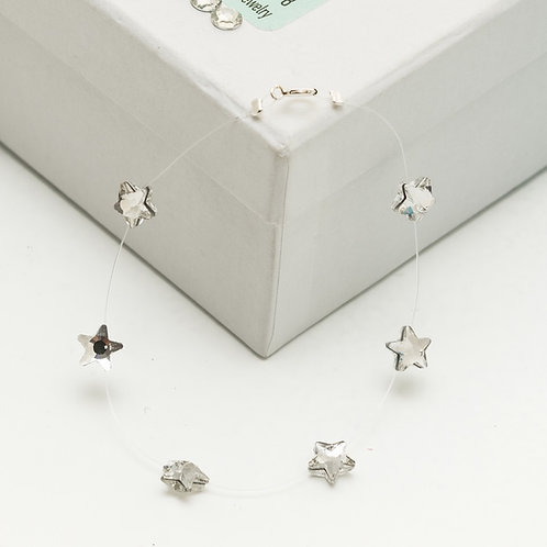Fb7296 Ασήμι 925° Λεπτό βραχιόλι με κρυστάλλινα αστεράκια σε πετονιά!