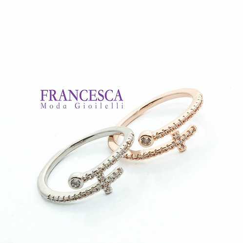 Fr8544 Διακριτικό ατσάλινο δαχτυλίδι,με κρυσταλλάκια σε ασημί & ροζ χρυσό χρώμα.