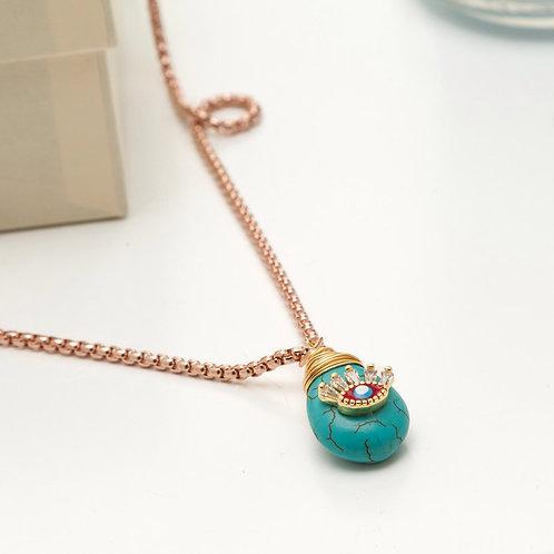 Fn7995 Κολιέ με αλυσίδα φίδι,και τυρκουάζ μωτίφ με κρυσταλλάκια!
