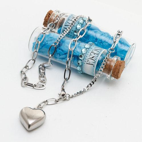 Fn8134 Κολιέ ατσάλι,με όμορφη αλυσίδα και καρδιά