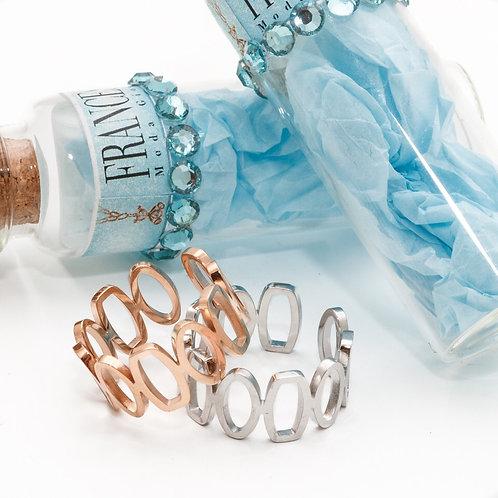FR7575 Πρωτότυπο δαχτυλίδι,για όλα τα δάχτυλα,σε ασημί & ροζ χρυσό.