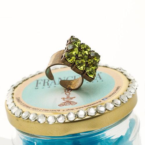 FR 7536 Χειροποίητο δαχτυλίδι,με λαδί κρύσταλλα