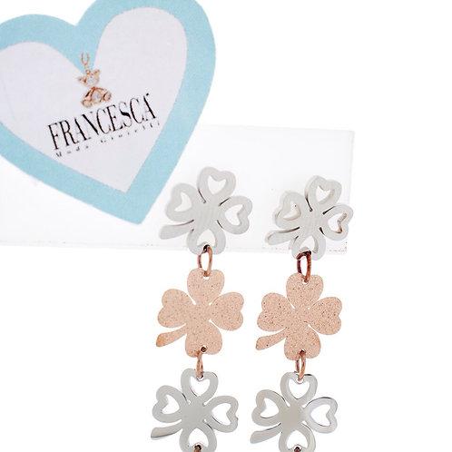Fe7653 lucky earings!! Σκουλαρίκια με τετράφυλλο τριφύλλι!