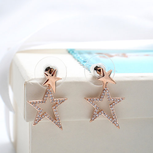 Fe7436 Exclusive stars!! Σκουλαρίκια με αστέρια σε απόχρωση rose gold