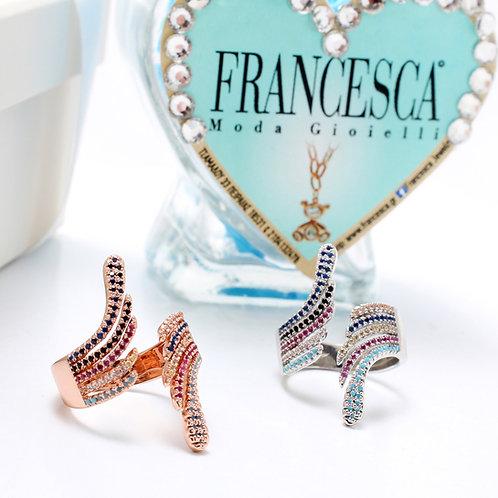 Fr7392 Εντυπωσιακό δαχτυλίδι με λεπτά κρυσταλλάκια,σε επάργυρο & rose gold