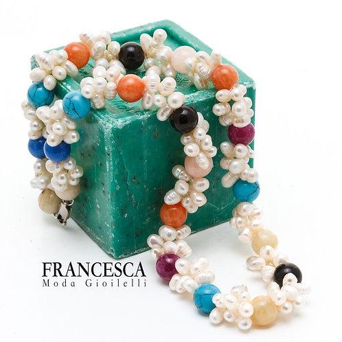 Fn8472Αριστοκρατικό κολιέ με υπέροχο δέσιμο μαργαριταριών,με ημιπολύτιμες πέτρες
