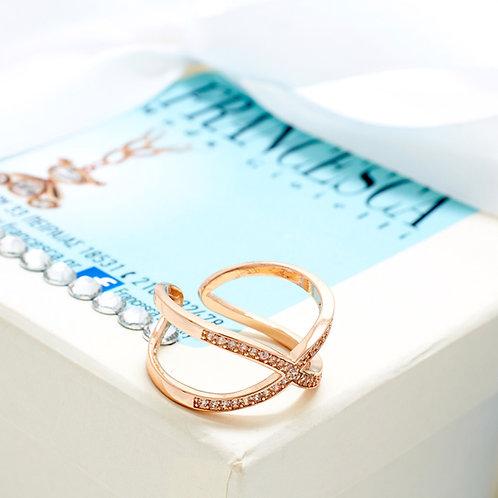 Fr7304 Δαχτυλίδι με λευκά κρυσταλλάκια,σε επάργυρο & rose gold απόχρωση.