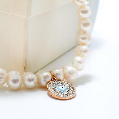 Fb7416 Ελαστικό βραχιόλι με μαργαριτάρι,& ματάκι με κρυσταλλάκια