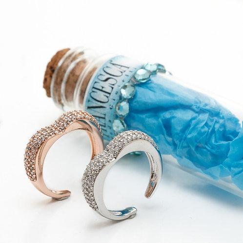 Fr8298 Minimal δαχτυλίδι ατσάλι,με λεπτά κρυσταλλάκια,σε ασημί & ροζ χρυσό χρώμα