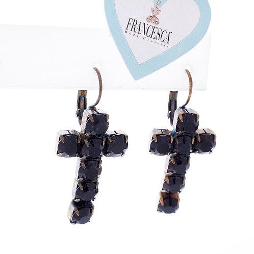 Fe7656 Mpronze μοδάτα σκουλαρίκια Σταυροί,με μαύρα κρύσταλλα!