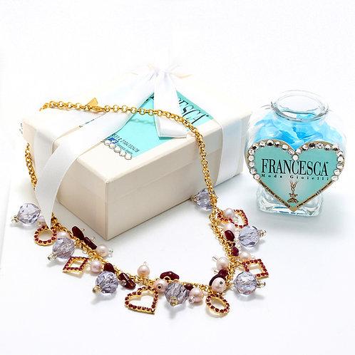 Fn7484 Πλούσιο κολιέ αλυσίδα με υπέροχα charms!!