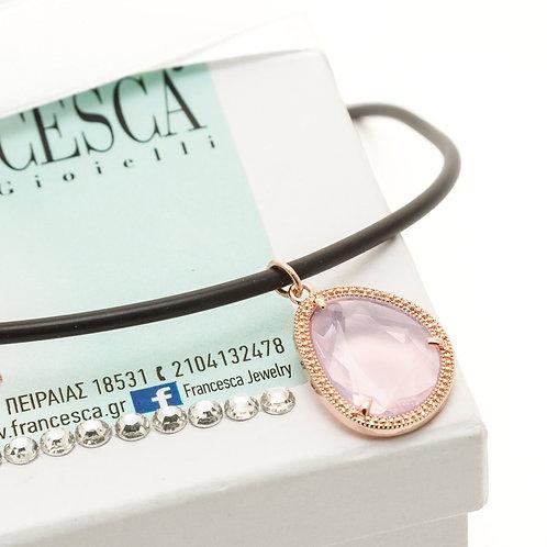 Fn7851 Κοντό κολιέ καουτσούκ με υπέροχο κόσμημα με ροζ πέτρα!