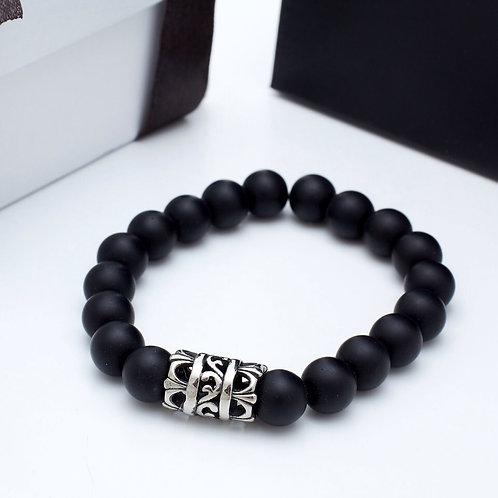 Fb7357 Ελαστικό ανδρικό βραχιόλι με μαύρες πέτρες & ιδιαίτερο charm
