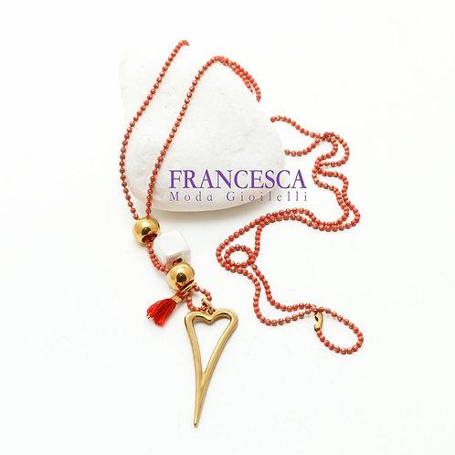 Fn8533 Χειροποίητο κολιέ,με όμορφη καρδιά και υπέροχη χρωματιστή αλυσίδα.
