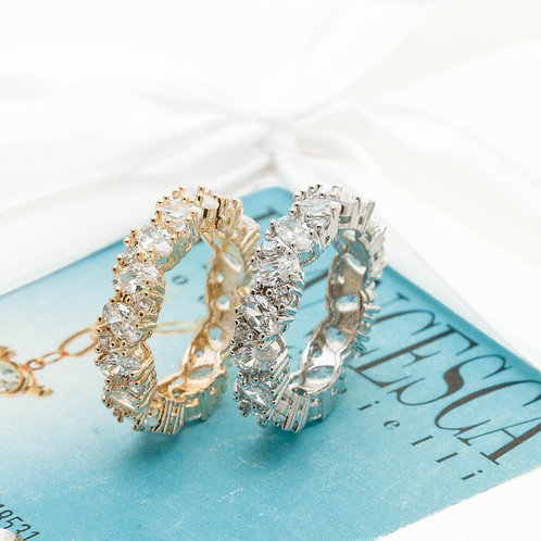 Fr8232 Ατσάλινο δαχτυλίδι με κρύσταλλα σε ασημί & χρυσό χρώμα. Σε No 17,18,19,