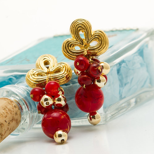 Fe8330 Υπέροχα σκουλαρίκια κλιπ,με κόκκινες πέτρες.