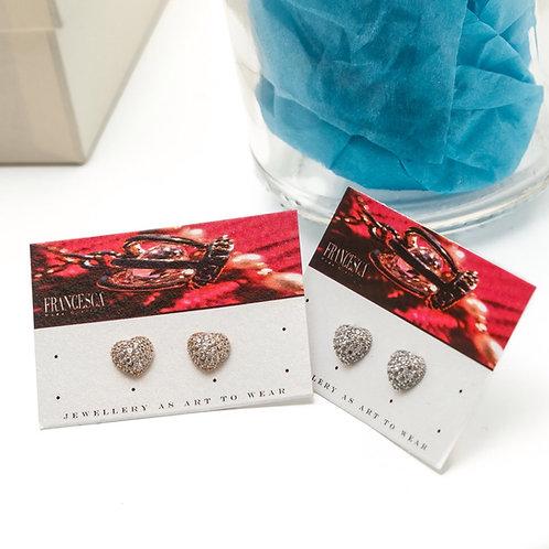 Fe7986 Λεπτά σκουλαρίκια καρδιές,με κρυσταλλάκια σε επάργυρο &rose gold απόχρωση