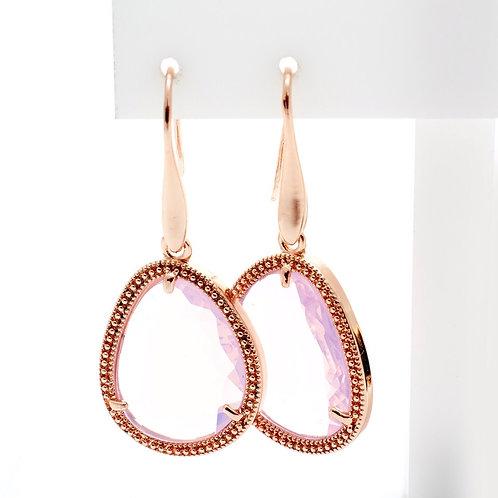 Fe7814 Εντυπωσιακά κρεμαστά σκουλαρίκια σε ροζ όπαλ απόχρωση
