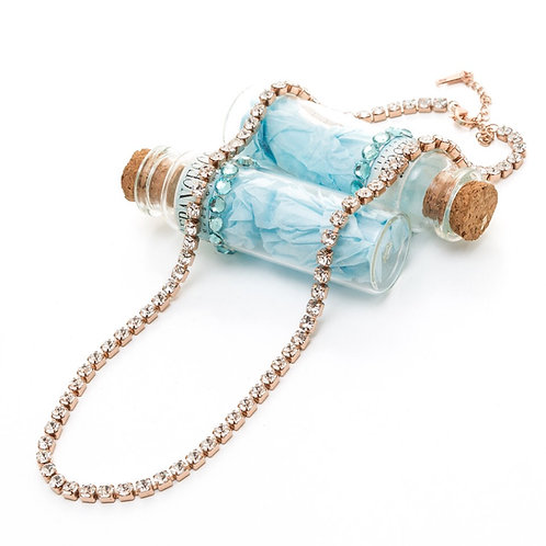Fn8386  Exclusive necklace!Λαμπερό κολιέ 45 εκατοστών,με λαμπερά κρυσταλλάκια!