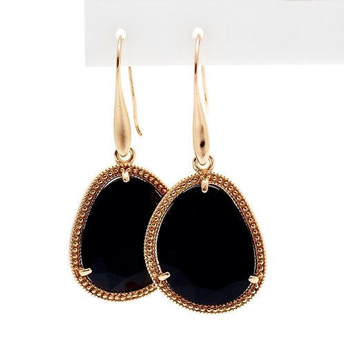 Fe7819 Εντυπωσιακά σκουλαρίκια με μαύρη πέτρα