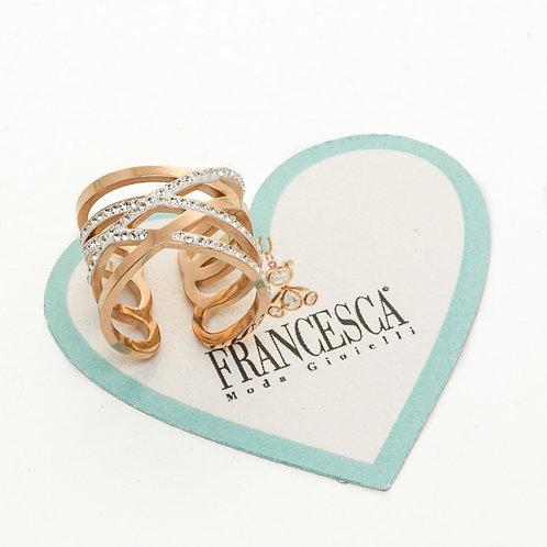 Fn8368 Ατσάλινο δαχτυλίδι,σε ροζ χρυσό απόχρωση για όλα τα δάχτυλα.