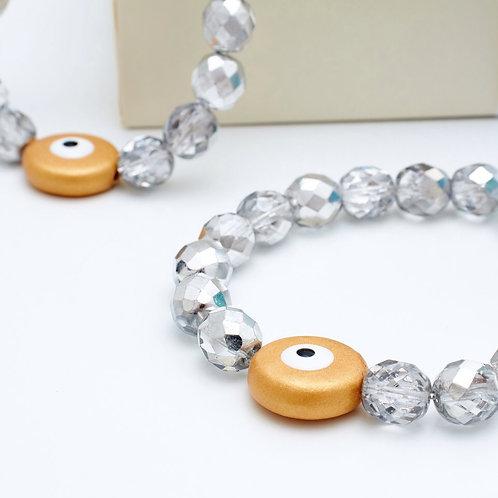 Fb7771 Ελαστικό βραχιόλι,με κρυσταλιζέ πέτρες & κεραμεικό μάτι