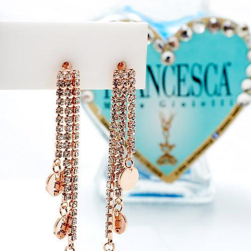 Fe7598 Κρεμαστά σκουλαρίκια με λεπτά strass σε rose gold απόχρωση