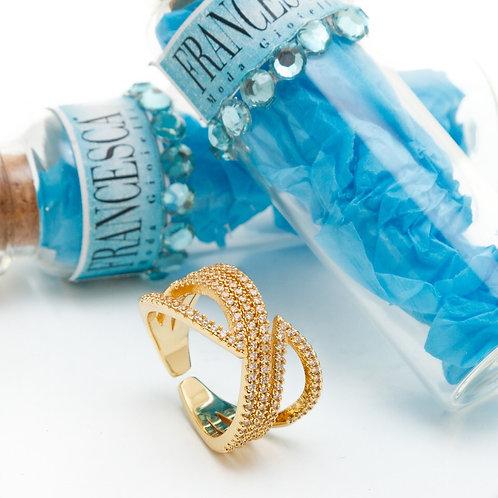 Fr8156 Ατσάλινο δαχτυλίδι σε υπέροχο σχέδιο,με κρυσταλλάκια.Χρώμα,κίτρινο χρυσό!