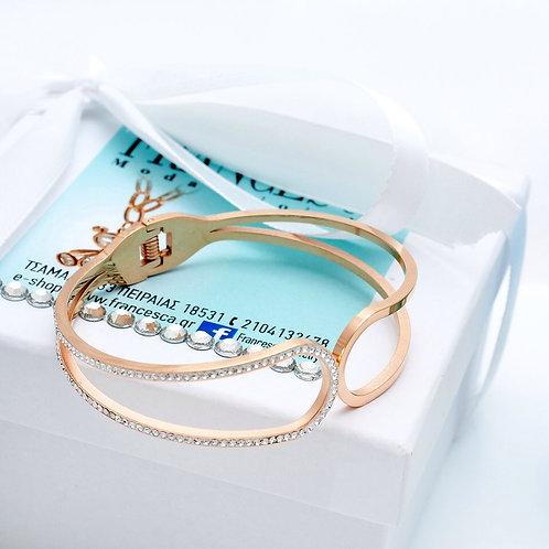 Fb7834 Χειροπέδα με λεπτά κρυσταλλάκια,σε rose gold απόχρωση!
