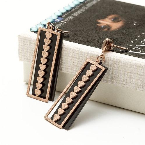 Fe8170 Πρωτότυπα κρεμαστά σκουλαρίκια,με μαύρα στοιχεία!
