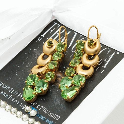 Fe8220 Χειροποίητα κρεμαστά σκουλαρίκια με πράσινα κρύσταλλα.