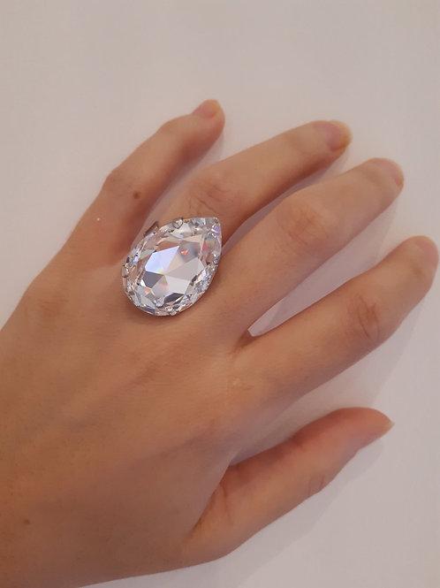 Fr8072 δαχτυλίδι επάργυρο, με μεγάλο κρύσταλλο!
