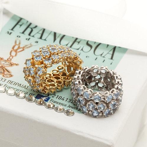 FR7809 Ασήμι 925° Δαχτυλίδι χειροποίητο με λεπτά κρυσταλλάκια. Ασημί κ επίχρυσο!