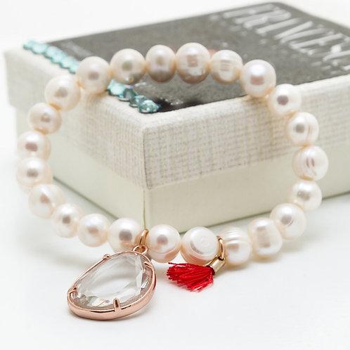 Fn8177 Ελαστικό βραχιόλι μαργαριτάρι,με charms