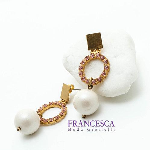 Fe8400 Εντυπωσιακά και πρωτότυπα σκουλαρίκια με ροζ κρύσταλλα.