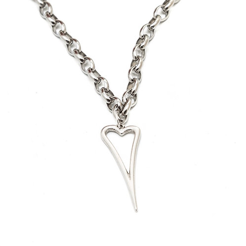 Fn7907 Επάργυρο κολιέ αλυσίδα με ιδιαίτερη καρδιά