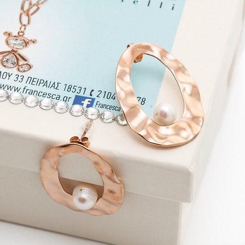 Fe7469 Εντυπωσιακά σκουλαρίκια σε ματ rose gold απόχρωση,με μαργαριτάρι.