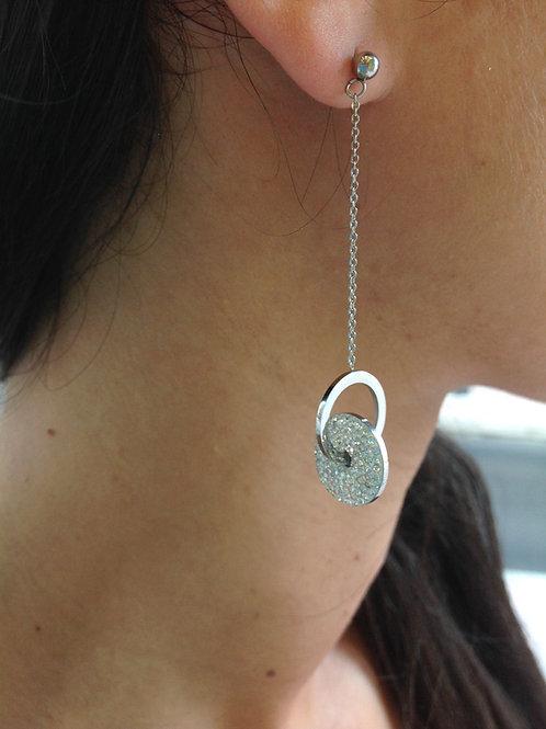 Fe7462 Επάργυρα λεπτά σκουλαρίκια με κρυσταλλάκια