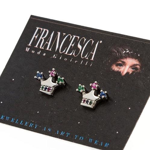 Fe8394 Λεπτές & διακριτικές κορωνίτσες σκουλαρίκια από ατσάλι.