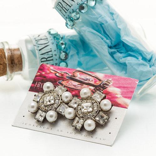 Fe7241 Αριστοκρατικά σκουλαρίκια,με περλίτσες και κρυσταλλάκια.