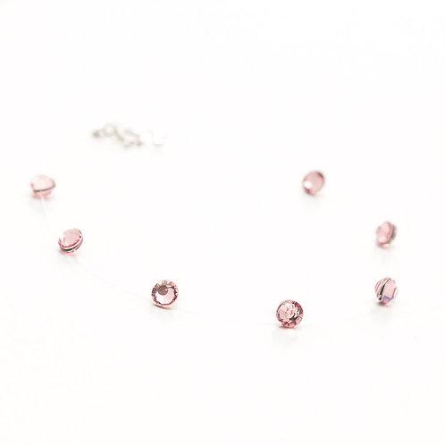 Fb7929 Ασήμι 925° Βραχιόλι πετονιά,με ροζ κρυσταλλάκια!