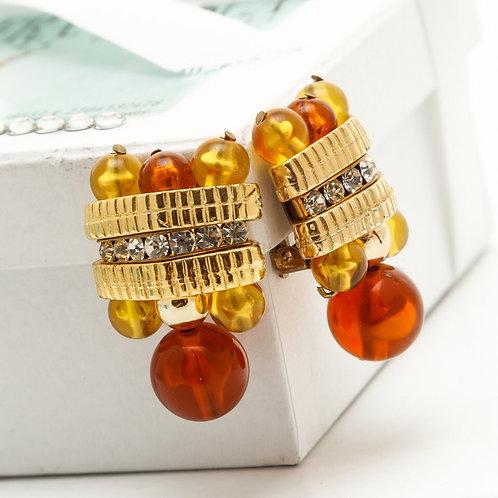 Fe8332 Χειροποίητα σκουλαρίκια κλιπ,με κρύσταλλα,& χρωματιστές πέτρες.