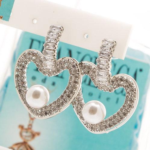 Fe7868 Επάργυρα,κρεμαστά σκουλαρίκια με κρυσταλλάκια.