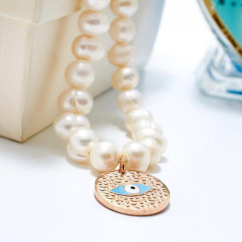 Fn7418 Necklace dream!! Υπέροχο μαργαριταρένιο κολιέ με ματάκι