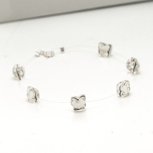 Fb7229 Ασήμι 925° Λεπτό βραχιόλι, με κρυστάλλινες πεταλούδες σε πετονιά
