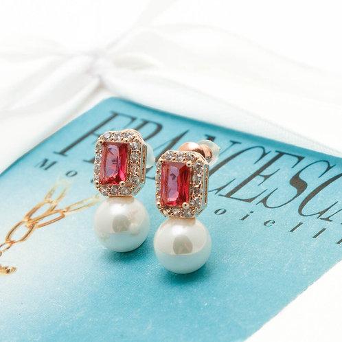 Fe8601 Αριστοκρατικές πέρλες σκουλαρίκια,με ροζ κρύσταλλο.