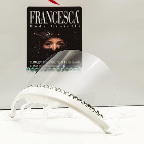 Fm8155 Διάφανη πλαστική μάσκα προστασίας με strass!